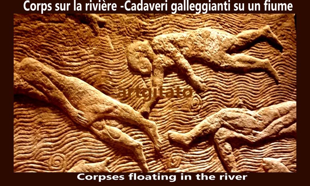 Corps sur la rivière cadaveri galleggianti su un fiume artgitato