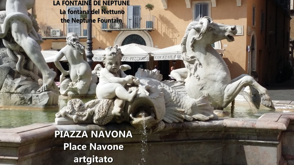 LA FONTAINE DE NEPTUNE Piazza Navona Place Navone Rome Roma artgitato 17