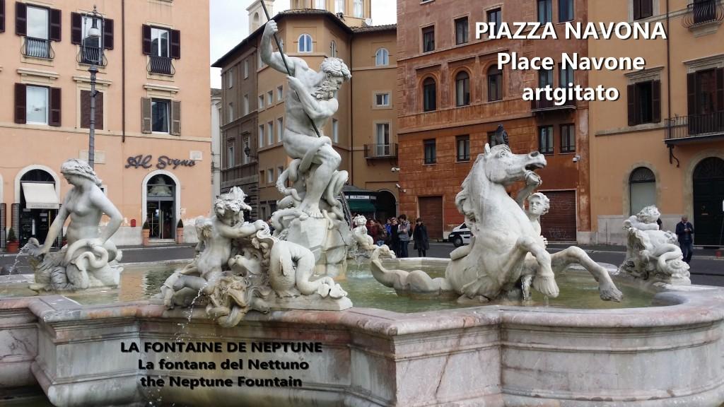 LA FONTAINE DE NEPTUNE Piazza Navona Place Navone Rome Roma artgitato 21