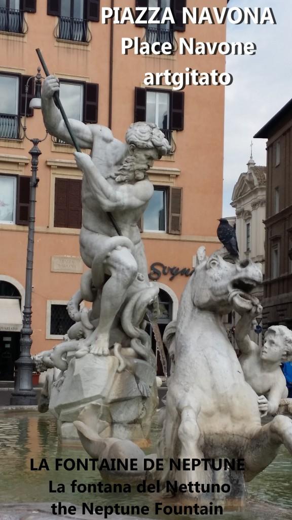 LA FONTAINE DE NEPTUNE Piazza Navona Place Navone Rome Roma artgitato 22