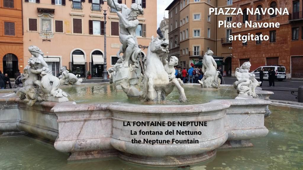 LA FONTAINE DE NEPTUNE Piazza Navona Place Navone Rome Roma artgitato 23