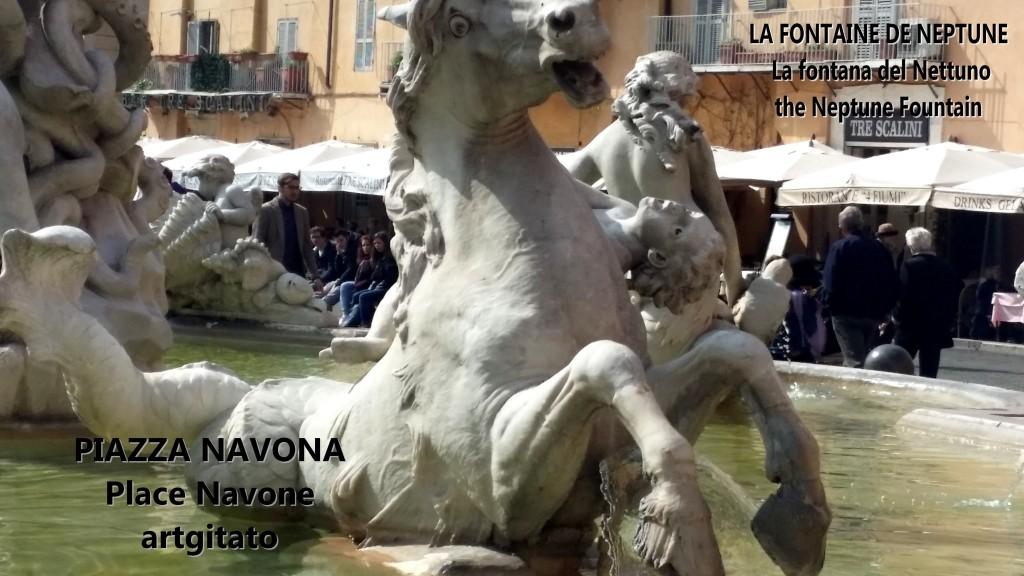LA FONTAINE DE NEPTUNE Piazza Navona Place Navone Rome Roma artgitato 26