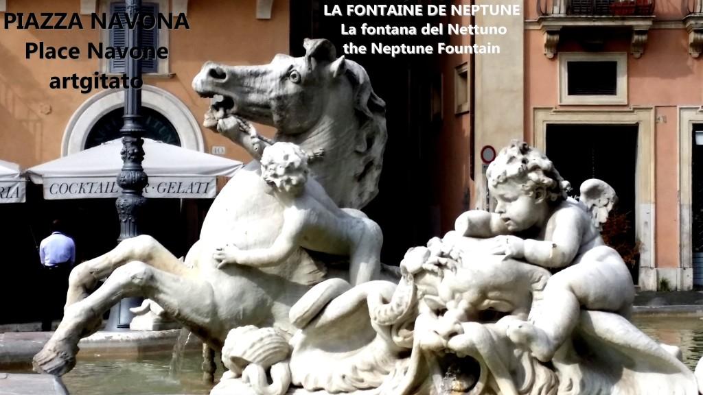 LA FONTAINE DE NEPTUNE Piazza Navona Place Navone Rome Roma artgitato 28