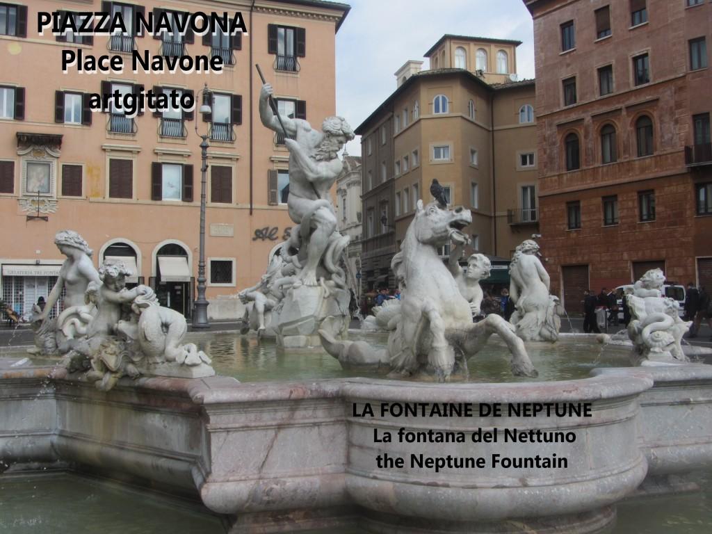 LA FONTAINE DE NEPTUNE Piazza Navona Place Navone Rome Roma artgitato 30