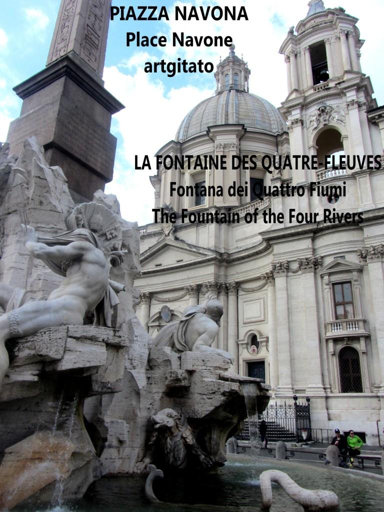 LA FONTAINE DES QUATRE-FLEUVES Piazza Navona Place Navone Rome Roma artgitato 31
