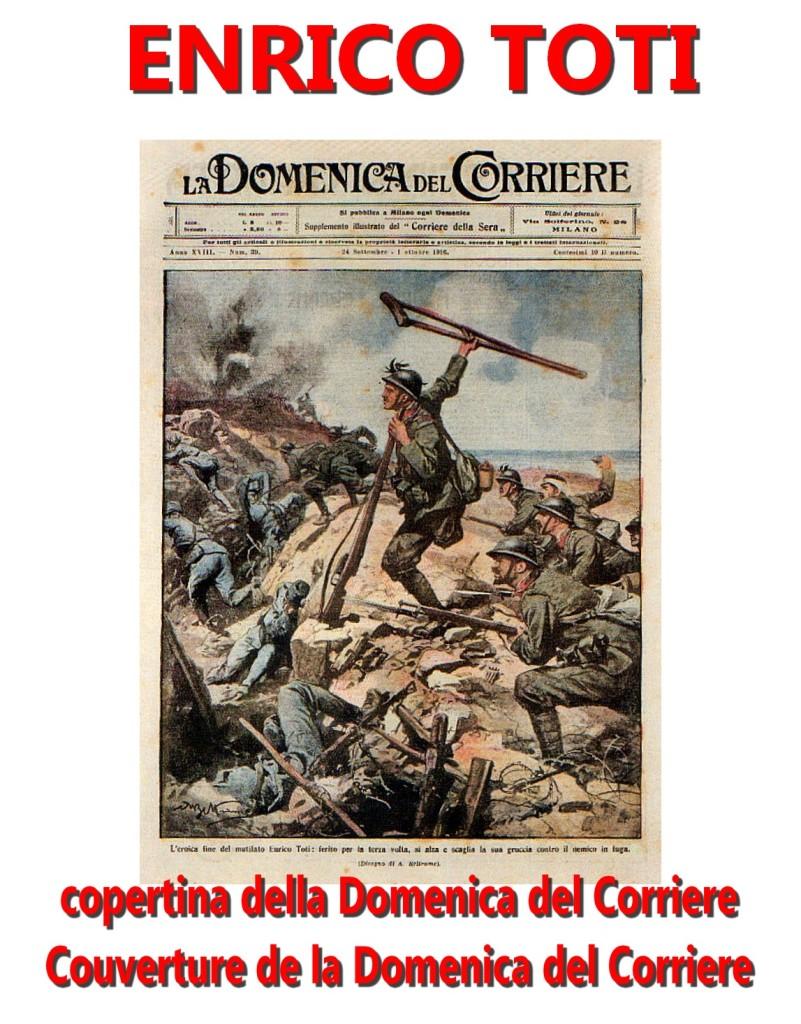 La morte di Enrico Toti nella copertina della Domenica del Corriere Villa Borghese artgitato