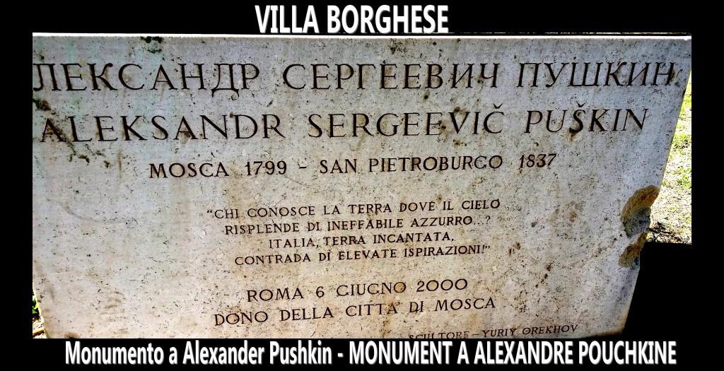 Monumento a Alexander Pushkin - MONUMENT A ALEXANDRE POUCHKINE-artgitato Villa borghese Rome Roma 1