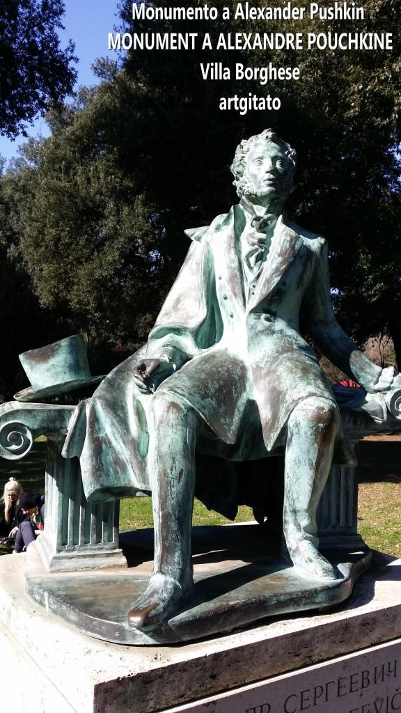 Monumento a Alexander Pushkin - MONUMENT A ALEXANDRE POUCHKINE-artgitato Villa borghese Rome Roma 3