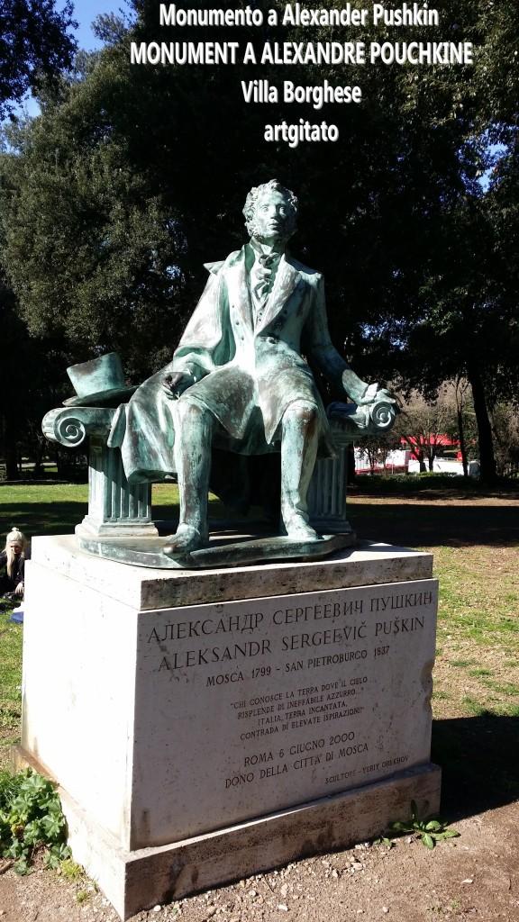 Monumento a Alexander Pushkin - MONUMENT A ALEXANDRE POUCHKINE-artgitato Villa borghese Rome Roma 4