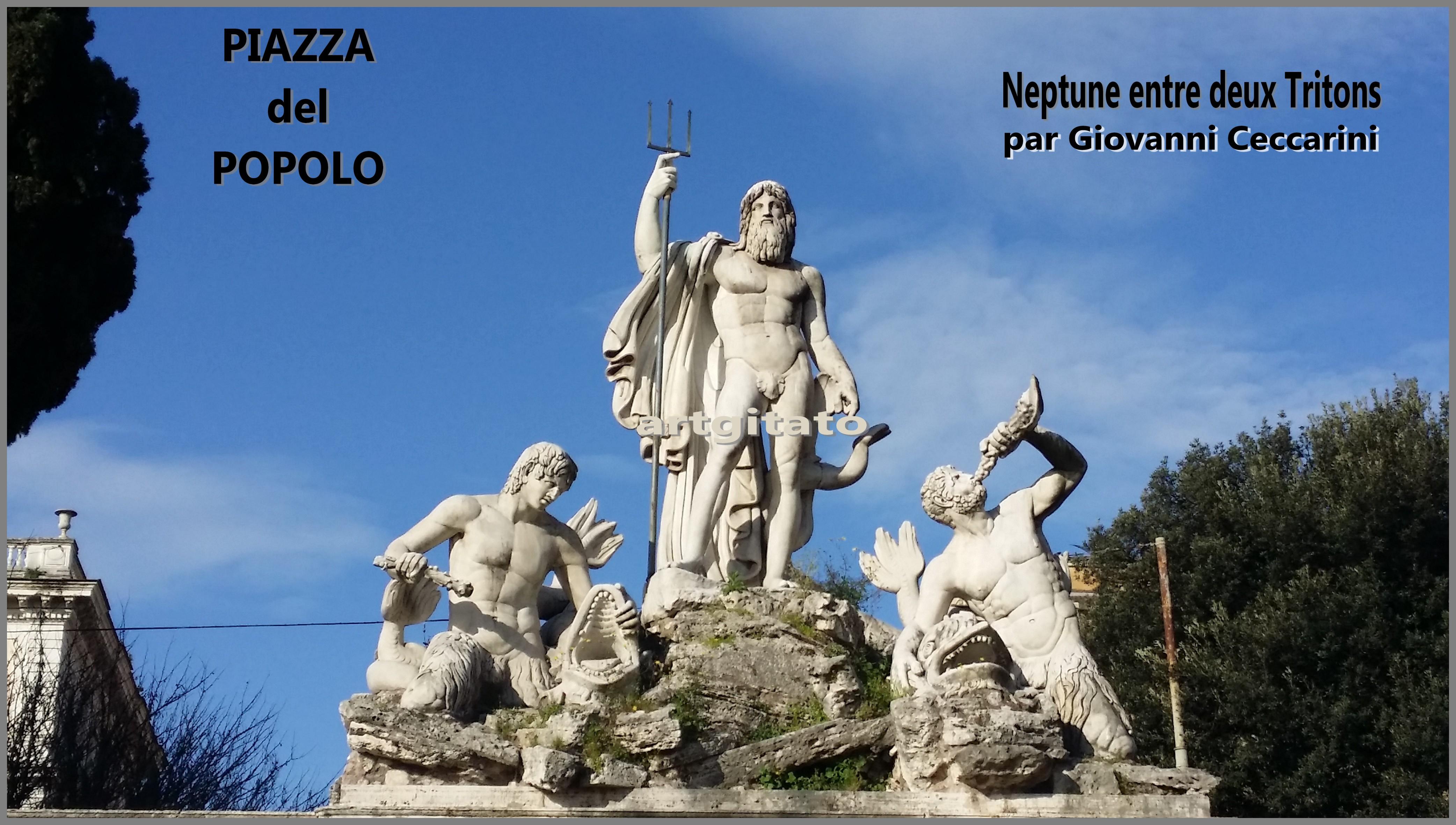 Neptune entre deux Tritons Artgitato Piazza del Popolo Giovanni Ceccarini