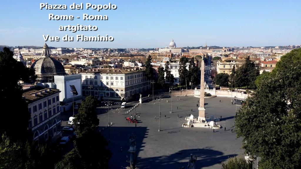 Piazza del Popolo Roma Rome Vue du Flaminio artgitato