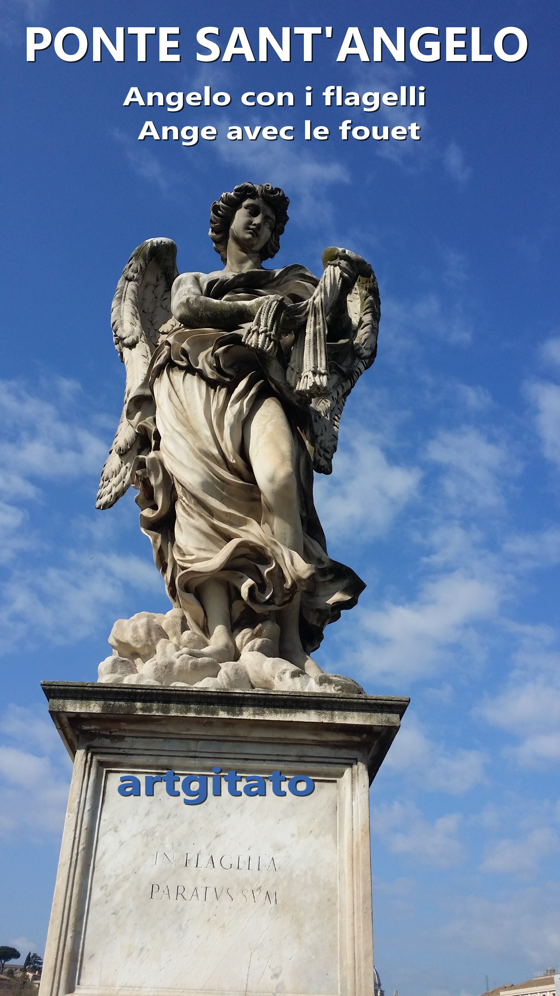 Ponte Sant'Angelo Pont Saint Ange artgitato Rome Roma Angelo con i flagelli 2