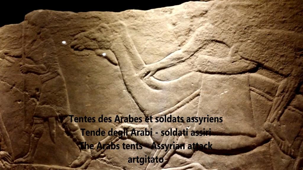 Tentes des Arabes dans le désert brûlé par des soldats assyriens artgitato