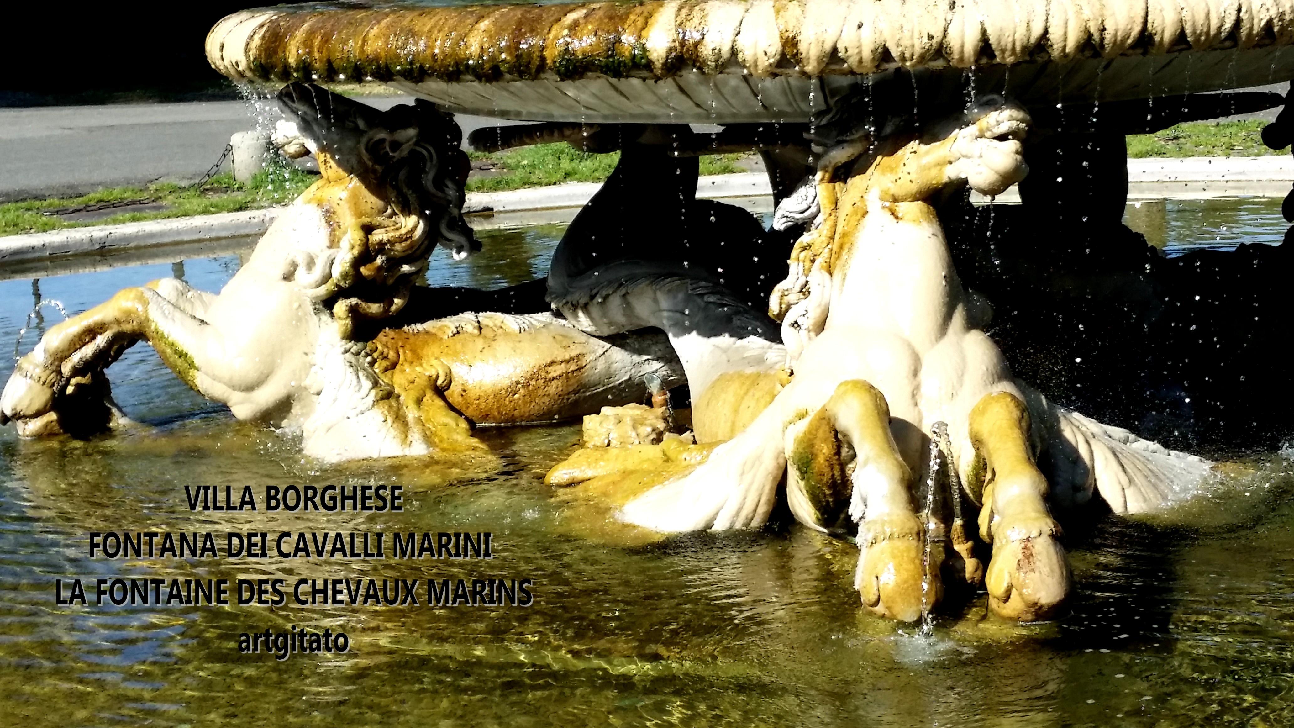 VILLA BORGHESE : FONTANA DEI CAVALLI MARINI - LA FONTAINE DES CHEVAUX MARINS • ARTGITATO