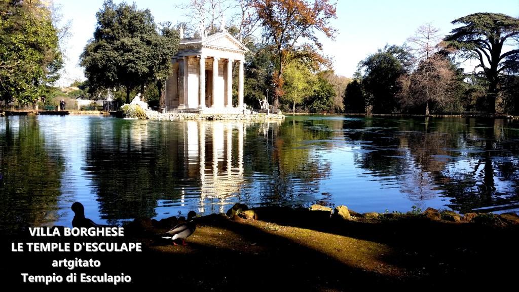 Villa Borghese Villa Borghèse Rome Roma Temple d'Esculape Tempio di Esculapio artgitato 2