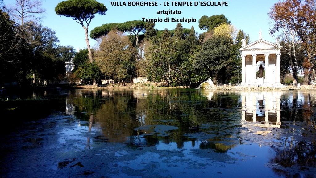 Villa Borghese Villa Borghèse Rome Roma Temple d'Esculape Tempio di Esculapio artgitato 5
