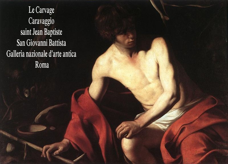 Caravaggio_Baptist_Galleria_Nazionale_d'Arte_Antica,_Rome John the baptist, by Caravaggio (1571-1610), from Web Gallery of Art