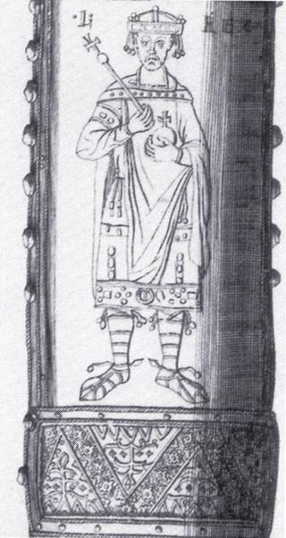 Détail de la gaine de l'épée impériale représentant Louis « le Jeune » Reichsschwert_ludwig_das_kind
