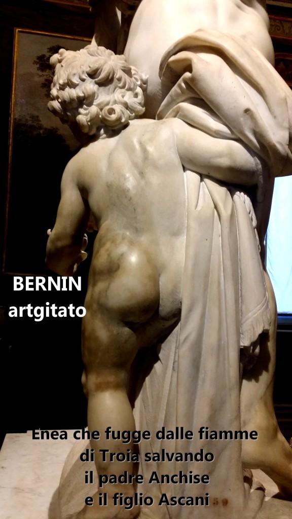 Enea che fugge dalle fiamme di Troia salvando il padre Anchise e il figlio Ascani Bernini Le Bernin Galerie Borghese artgitato 3