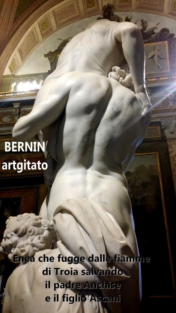 Enea che fugge dalle fiamme di Troia salvando il padre Anchise e il figlio Ascani Bernini Le Bernin Galerie Borghese artgitato 4
