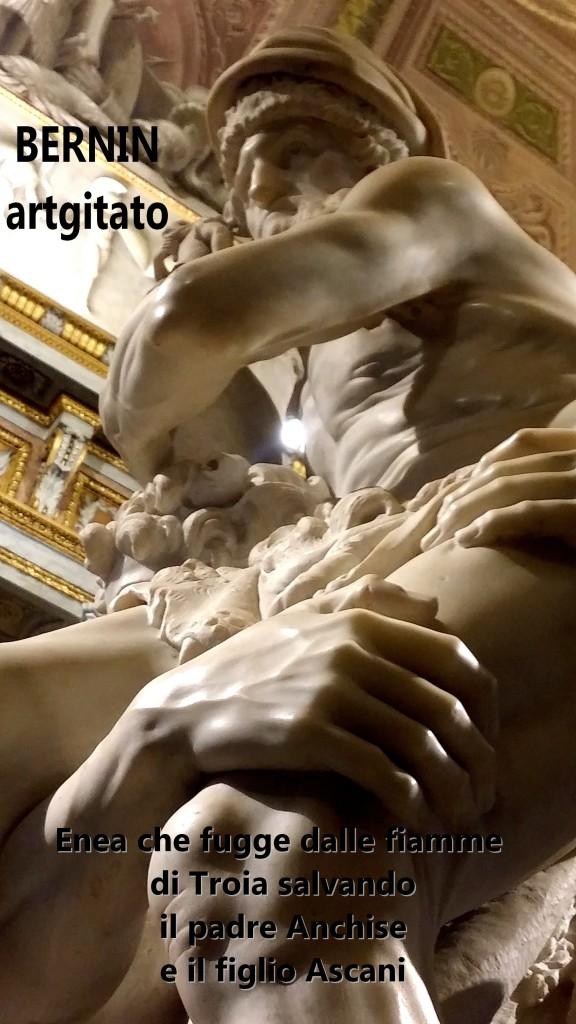 Enea che fugge dalle fiamme di Troia salvando il padre Anchise e il figlio Ascani Bernini Le Bernin Galerie Borghese artgitato 5