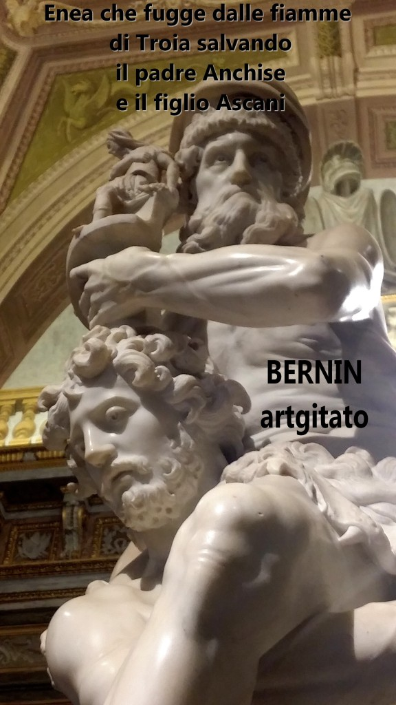 Enea che fugge dalle fiamme di Troia salvando il padre Anchise e il figlio Ascani Bernini Le Bernin Galerie Borghese artgitato 7
