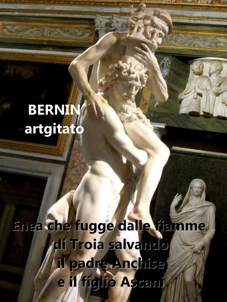 Enea che fugge dalle fiamme di Troia salvando il padre Anchise e il figlio Ascani Bernini Le Bernin Galerie Borghese artgitato 8