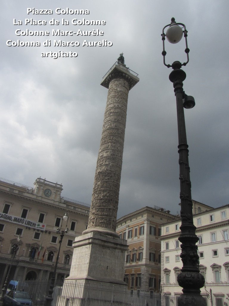 LES PLACES DE ROME Piazza Colonna - La Place de la Colonne et la colonne Marc-Aurèle - Colonna di Marco Aurelio - ROMA - ROME artgitato (1)