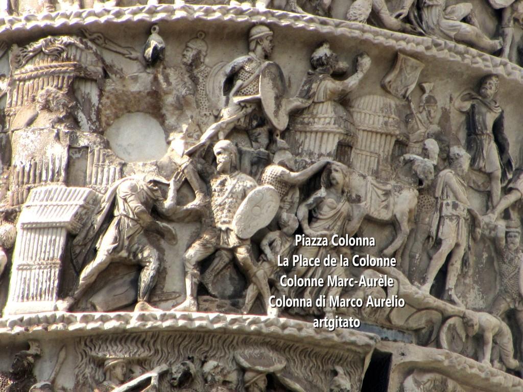 LES PLACES DE ROME Piazza Colonna - La Place de la Colonne et la colonne Marc-Aurèle - Colonna di Marco Aurelio - ROMA - ROME artgitato (4)