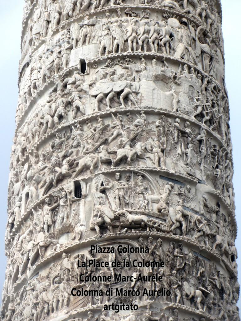 LES PLACES DE ROME Piazza Colonna - La Place de la Colonne et la colonne Marc-Aurèle - Colonna di Marco Aurelio - ROMA - ROME artgitato (8)