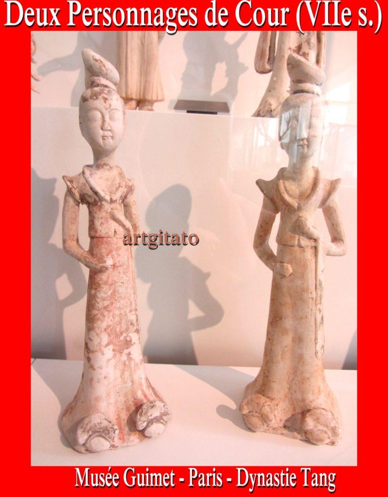 Guimet Dynastie Tang Deux Personnages de Cour VIIe siècle Musée Guimet Paris Artgitato