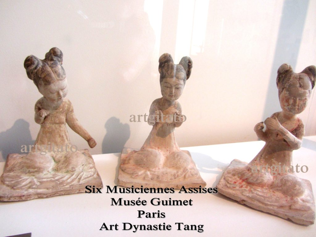 Six Musiciennes Assises Art dynastie Tang Musée Guimet Artgitato Paris 4