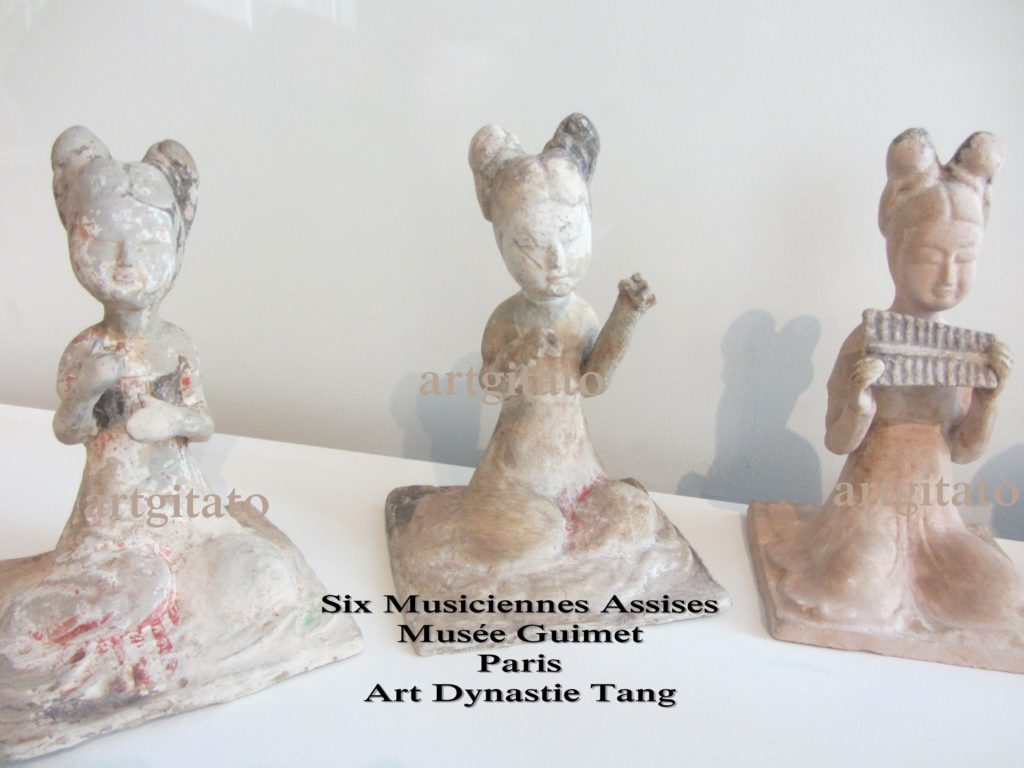 Six Musiciennes Assises Art dynastie Tang Musée Guimet Artgitato Paris 5