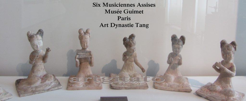 Six Musiciennes Assises Art dynastie Tang Musée Guimet Artgitato Paris 6
