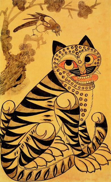 Tigre et Pie art Coréen