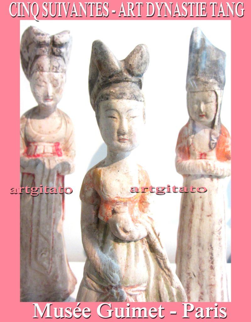 cinq suivantes Art dynastie Tang Musée Guimet Paris Artgitato