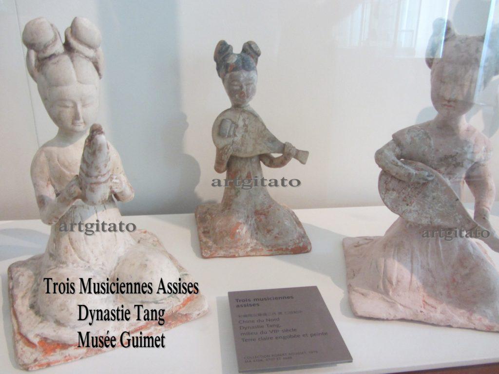 Trois Musiciennes Assises Dynastie Tang Musée Guimet Paris Artgitato 2