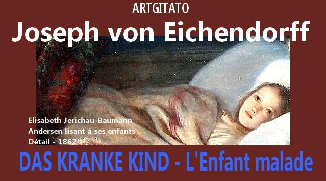 Das Kranke Kind Eichendorff L'enfant malade Artgitato Elisabeth Jerichau-Baumann Andersen lisant à ses enfants 1862