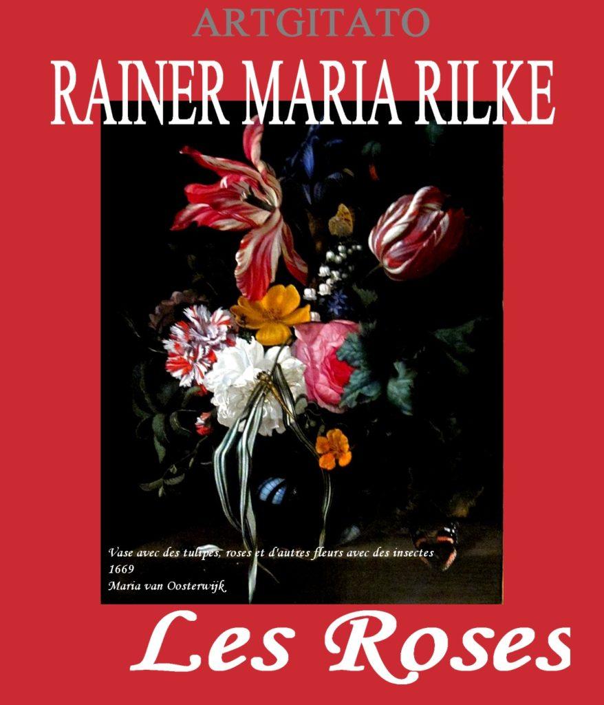 LES ROSES RAINER MARIA RILKE artgitato Vase avec des tulipes, roses et d'autres fleurs avec des insectes 1669 de Maria van Oosterwijk