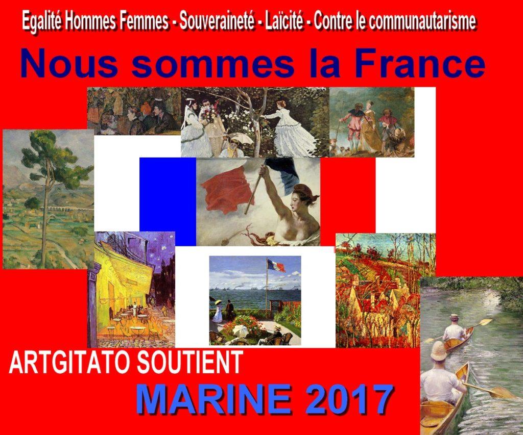 Marine 2017 Nous Sommes la France Artgitato Egalité hommes femmes souveraineté laïcité